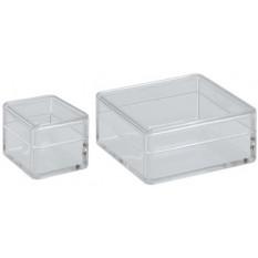 Boîte carrée en plastique transparent, 48 x 48 x 19 mm
