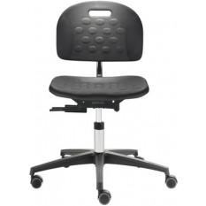 Chaise ergonomique Dauphin en polyamide noir, piètement à 5 branches avec roulettes freinées pour sol dur