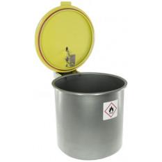 Récipient de lavage en inox avec couvercle de sécurité, 3 l,Ø 180 mm, hauteur fermé 195 mm, hauteur ouvert 352 mm