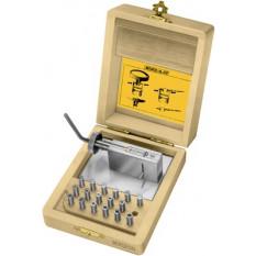 Outil à resserer les canons d'aiguilles et de couronnes, avec 12 pinces, en coffret bois