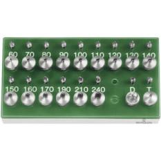 Assortiment Horia de 15 poussoirs à pompe Ø 3 mm (tolérance +0.003/+0.008) et 15 tasseaux (tolérance H7), 1 jeu de tasseaux pour pouser les tiges de fourchettes et 1 jeu pour pousser les dards