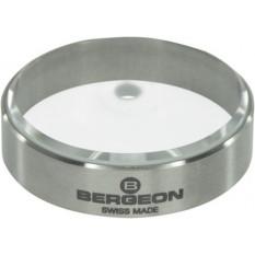 Rond de réglage en acier inoxydable brossé, dessus en verre, Ø 35 mm, Ø trou 3.5 mm
