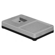 Socle de table seul gris clair, 265 x 165 x 42 mm, pour pied de 60 x 60 mm