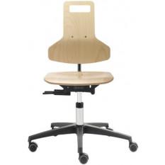 Chaise ergonomique Dauphin en bois, avec siège et dossier réglable, piètement à 5 branches avec roulettes freinées pour sol dur