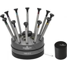 Socle tournant avec 12 tournevis d'horloger à profilé spécial Tork Speed en acier inox, avec 6 emplacements pour cartouches dynamométriques et un container amovibles avec mèches de rechange
