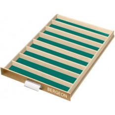 Tiroir à glissière avec 8 casiers, amovibles, fond vert, 300 x 460 x 40 mm