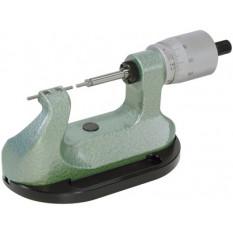 Micromètre courbé à butée tournante, touches cylindrique en métal dur, Ø 2.00 mm, capacité de 0 à 25 mm