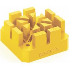 Posage jaune en matière synthétique soft, pour bracelets épais, 53 x 53 x 26 mm