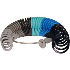 Baguier pour alliances en matière plastique, avec 6 groupes de couleurs différentes pour les tailles