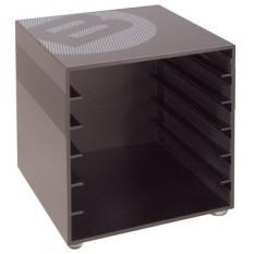 """B-cube, """"layette"""" mueble con cajones en aluminio masivo, vacío, que puede contener 6 cajones"""